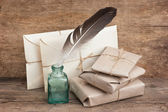 Pile parcel wrapped — Stock Photo