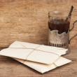 Pile parcel wrapped with brown kraft paper - Stock Photo