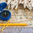 Map and compass — Stock Photo