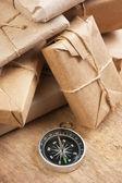 Stacken paket i lager — Stockfoto