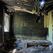 Stock Photo: Old abandoned burned house inside hdr