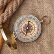 Compass with ropes and bamboo on  canvas — Stock Photo