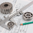 Mechanical drawing and pinion — Stock Photo #5755066