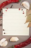 Blank sheet for cooking recipes — Stock Photo