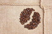 Coffee beans and rope knot on sack — Stock Photo