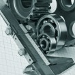 Caliper with gears — Stock Photo