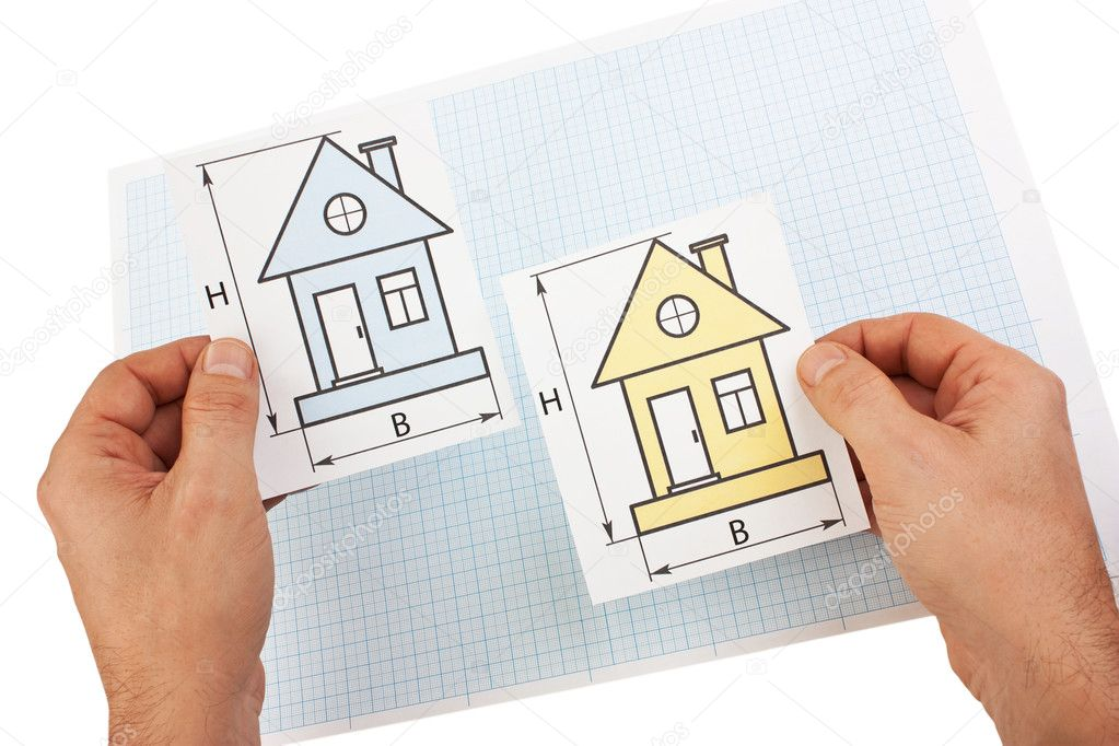 Development drawings in hand  isolated  on white background — Stock Photo #5979868