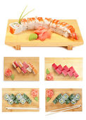 Set Asian food sushi on wooden plate isolated — Stock Photo