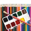 Watercolor paints and brushes — Stock Photo #6015139