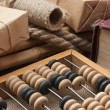 Pile parcel  and abacus - Foto Stock