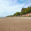 Wide sandy shore of the river - Stock Photo