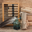Pile parcel and abacus - Stockfoto