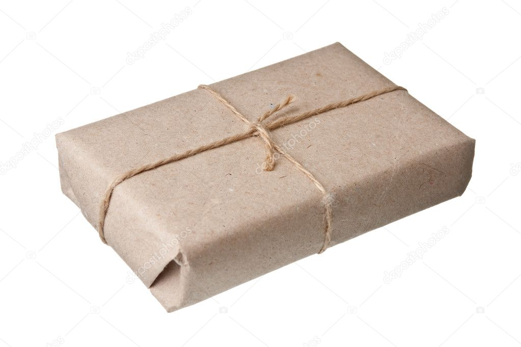 Parcel wrapped with brown kraft paper isolated on white background — Stock Photo #6205917