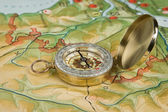 Compass on a map — Stock Photo