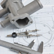 Stock Photo: Automotive parts and drawing