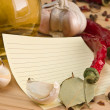 Blank sheet for cooking recipes and spices — Stock Photo