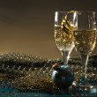Glasses of wine and Christmas decoration — Stock Photo