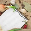 Notebook for recipes and spices - ストック写真