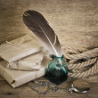 Stock Photo: Letter and quill in inkwell