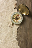 Compass, old paper and rope — Stockfoto