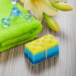 Bath objects with flower — Stock Photo