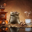 Coffee accessories on mat — Stockfoto