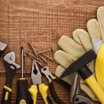 ferramenta de trabalho cópia espaço no plano de fundo de madeira — Foto Stock
