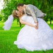 Newlywed kises in green park — Stock Photo #5398166