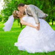 Newlywed kises in green park — Stockfoto #5398166