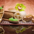 Set of natural bath accessories — Stock Photo