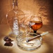 Still life with cigar and cognac - Stock Photo