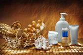 Dark burn composition of care accessories — Stock Photo