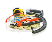 Isolated oset of building tools — Stock Photo