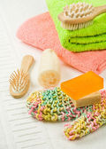 Set of colored bath accesories — Stock Photo