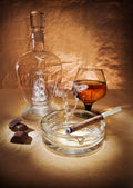 Still life with cigar and cognac — Stock Photo