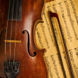 Old used violin and note close up - Stock Photo