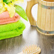 Towels flower hairbrush and mug — Stock Photo #5692315
