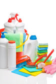 Copyspace cleaning supplies composition — Stock Photo