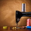 Copy space vintage sewing tools — Stock Photo