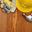 Stock Photo: Copyspace view on working tools on wooden board