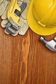 Copyspace view on the working tools on wooden board — Stock Photo