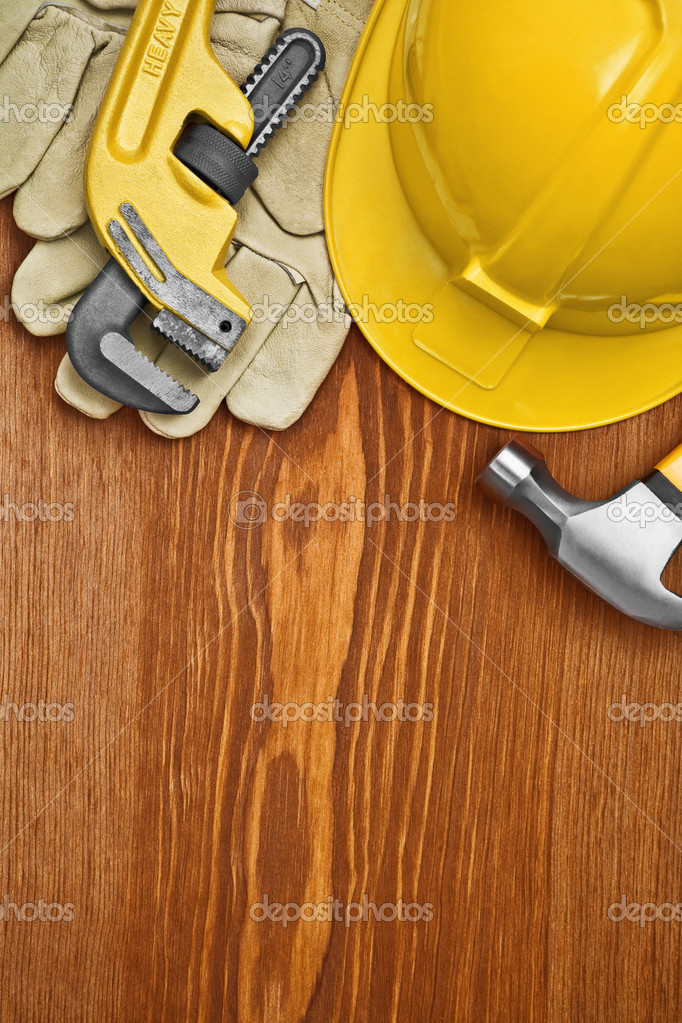 Copyspace view on the working tools on wooden board — Stock Photo #5797663