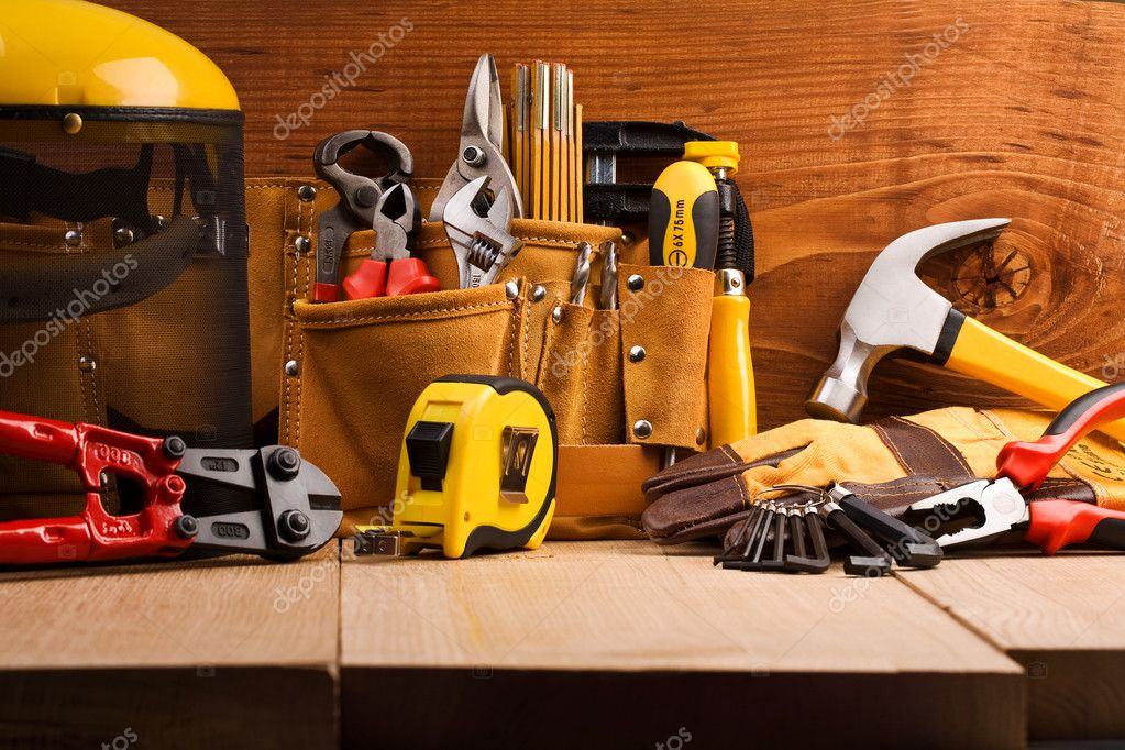 Set of working tools on wooden boards — Stock Photo #5993206
