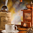 Coffee items on table - Zdjęcie stockowe