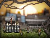 Team of ants managing sunrise, fantasy — Stock Photo