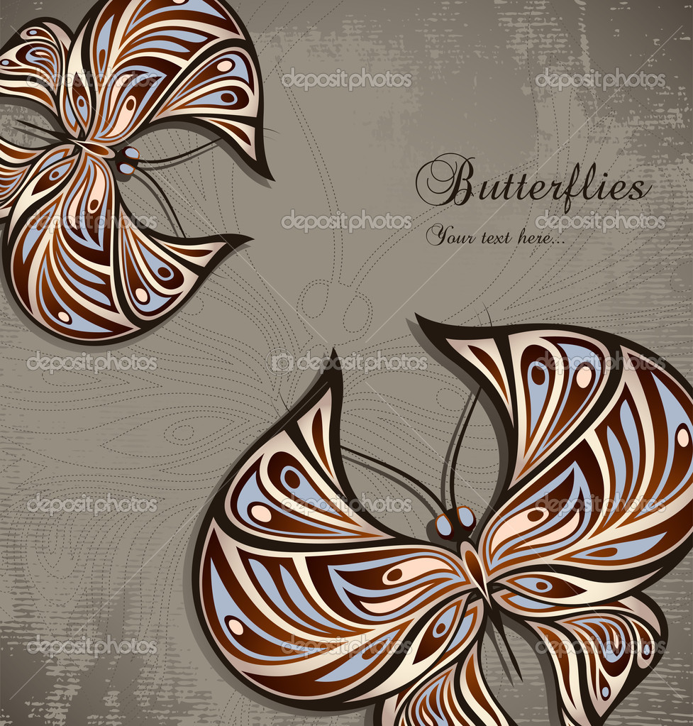 Vintage background with ornamental butterflies, vector format — Stock Vector #6566779