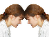 Woman facing her forehead with herself — Stock Photo