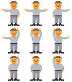 Vector pixel art - set of gesticulating — Stock Vector