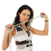 Beautiful woman with steel shackles — Stock Photo