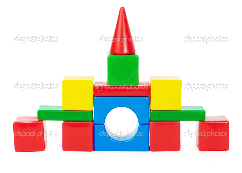 Toy castle of colored plastic blocks isolated on white background  Stock Photo #5444305